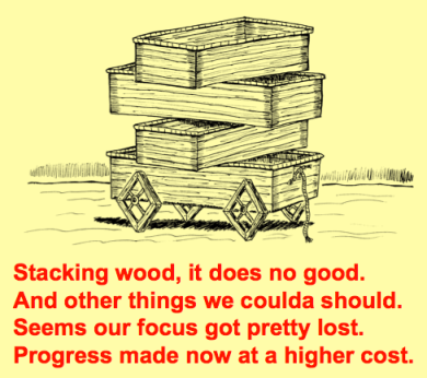 Stacking Wooden Wagons costs poem - square wheels images