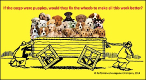 Square Wheels One poem image on innovation and puppies
