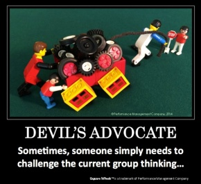 Square Wheels LEGO Poster image about Devil's Advocate Thinking