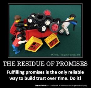 A poster on Trust using Square Wheels and LEGO on trust by Scott Simmerman