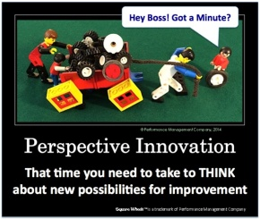 Square Wheels LEGO Poster image about thinking, perspective and innovation
