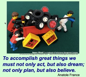 A Square Wheels image using LEGO of a quote, by Scott Simmerman