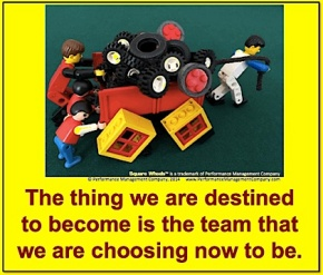 A Square Wheels LEGO Poster on teamwork and destiny