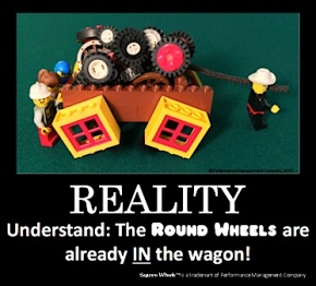 Square Wheels LEGO Poster of the reality of improvement