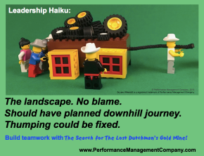 business haiku about leadership and square wheels and improvement